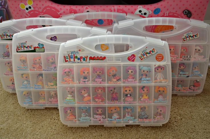 Sew clever. This Lala fan used craft containers to store her minis and made labels from the Lalaloopsy packaging!