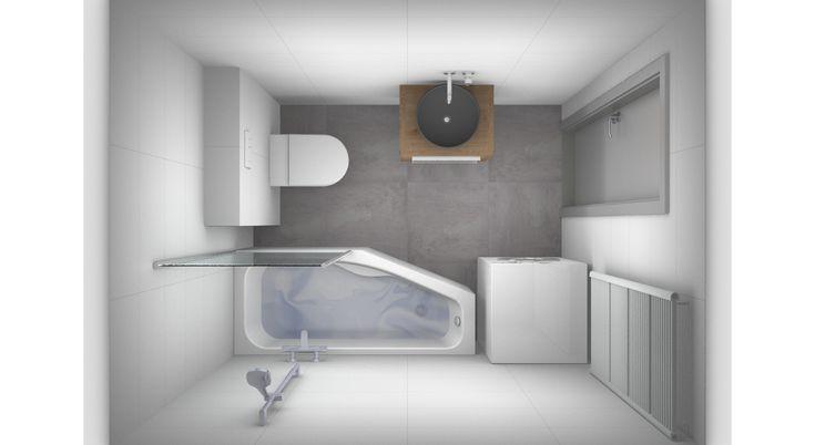 Ontwerp kleine badkamer met wasmachine