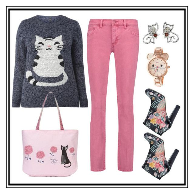 Pink cat by amisha73 on Polyvore featuring moda, Tory Burch, Camilla Elphick, Boum and NOVICA