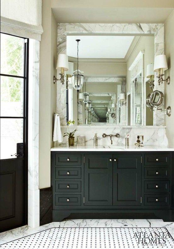 home bathrooms marble framed mirror sink console u0026 back marble splash door shades lighting