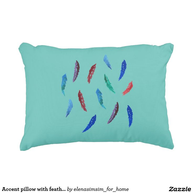 Accent pillow with feathers