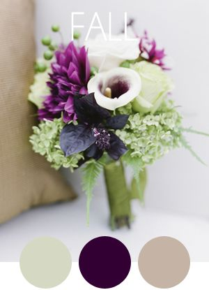 Color palette idea for Devyn's wedding? Love the taupe-y blush against the purple. (Plus added gold accent for JMU, of course!)