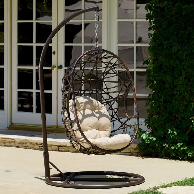 Bay Isle Home Duncombe Egg-Shaped Outdoor Swing Chair with Stand & Reviews   Wayfair
