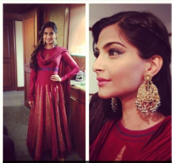 Sonam in a maroon anarkali... Nice, am not entirely on board with the dupatta though!