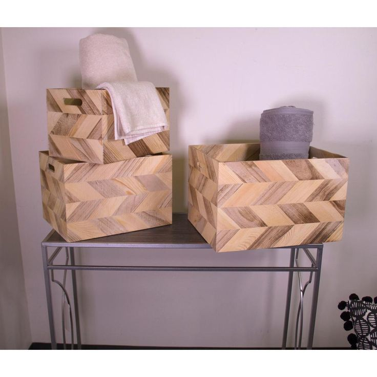 3-Piece Wood Basket Set with Zig Zag Detail and Cut Out Handles, Browns/Tans