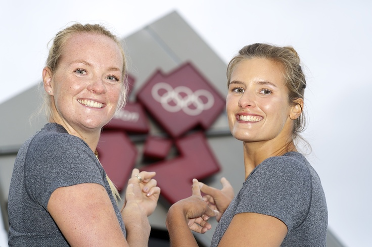 London Olympic 2012 Count Down Clock with GB Beach Volleyball Team - Shauna Mullin & Zara Dampney - Photo by Charles Davis www.professionalphotography.me.uk