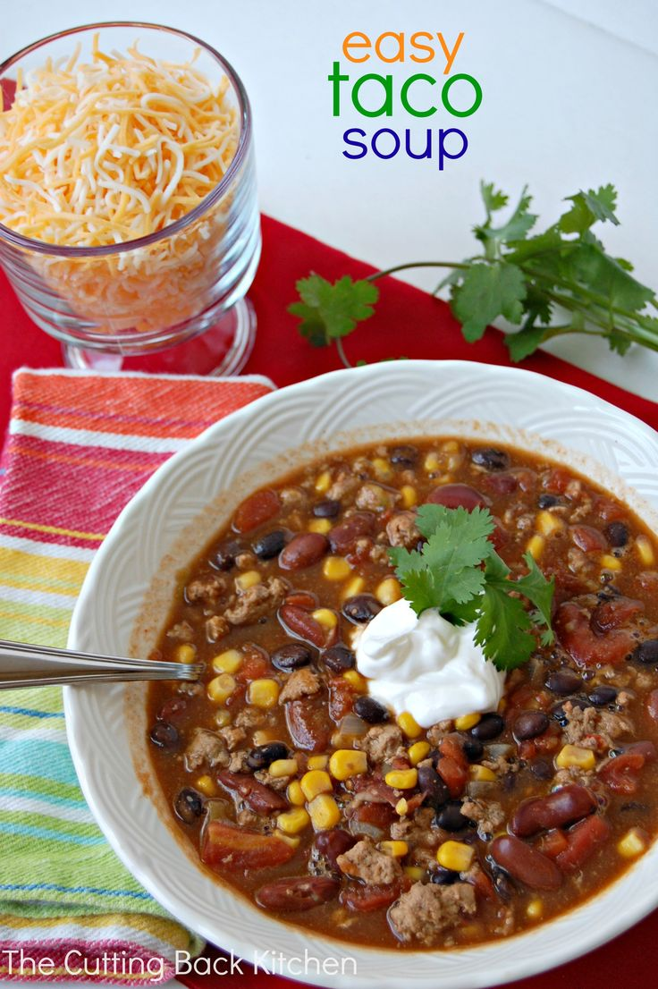 """Easy Taco Soup - a tasty, easy dinner made with pantry staples!  No more, """"What am I going to make for dinner""""! - www.cuttingbackkitchen.com"""