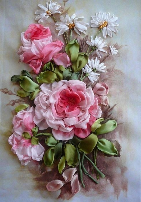 Csokor silk ribbon embroidery and work