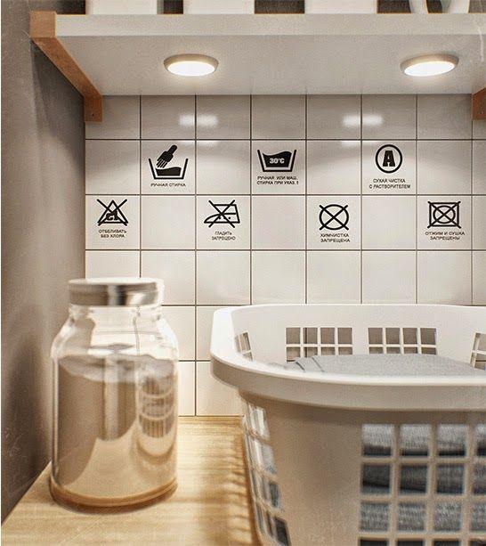 Quelques stickers peuvent transformer un simple carrelage et le rendre fun, joli et utile. Décoration originale pour salle de bain ou buanderie.