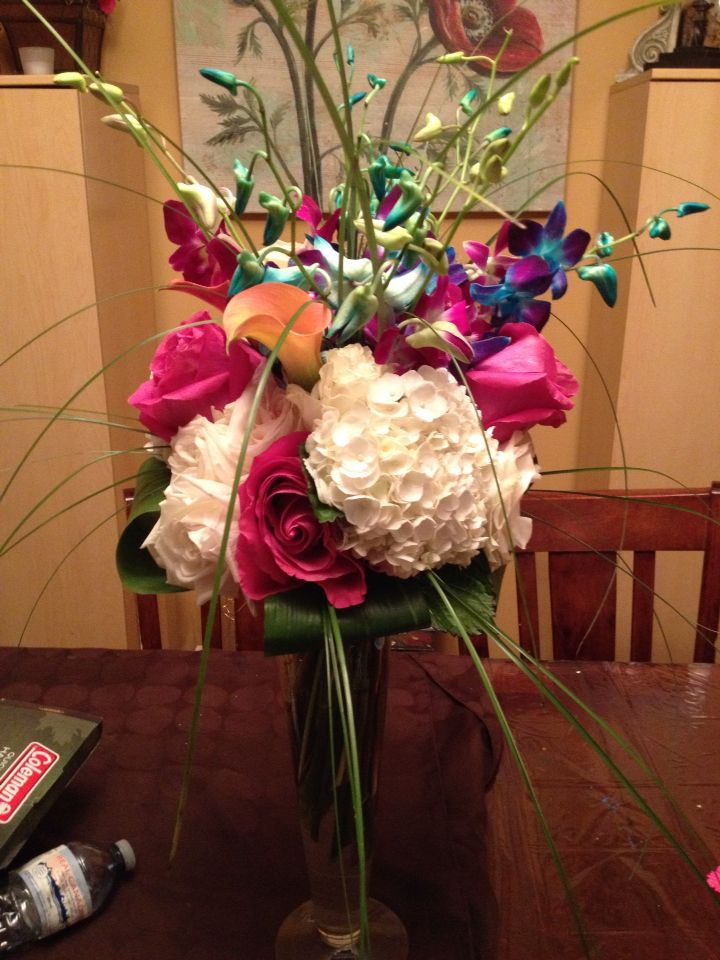 This one was a creative use of leftover flowers!