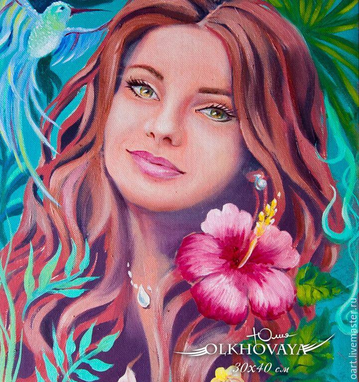 Купить Портрет по фото. Тропические цветы. - фуксия, зеленый, портрет, девушка, женщина, канртина на заказ