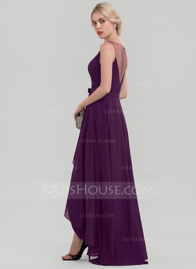 A-Line/Princess Scoop Neck Asymmetrical Sequins Bow(s) Zipper Up Regular Straps Sleeveless No Grape Winter Spring Summer Fall General Plus Chiffon Height:5.7ft Bust:33in Waist:24in Hips:34in US 2 / UK 6 / EU 32 Evening Dress