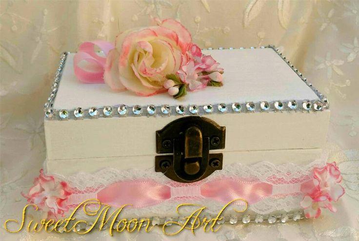 Caja para anillos de boda, Cojín anillos boda, Caja portadora anillos boda de SweetMoonArt en Etsy