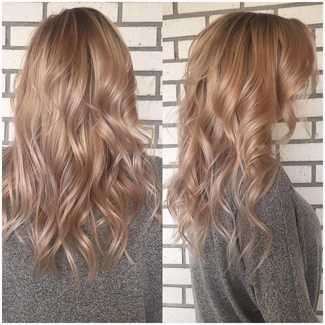 Hair painted this brunette rose gold blonde! Olaplex kept her fine hair healthy…
