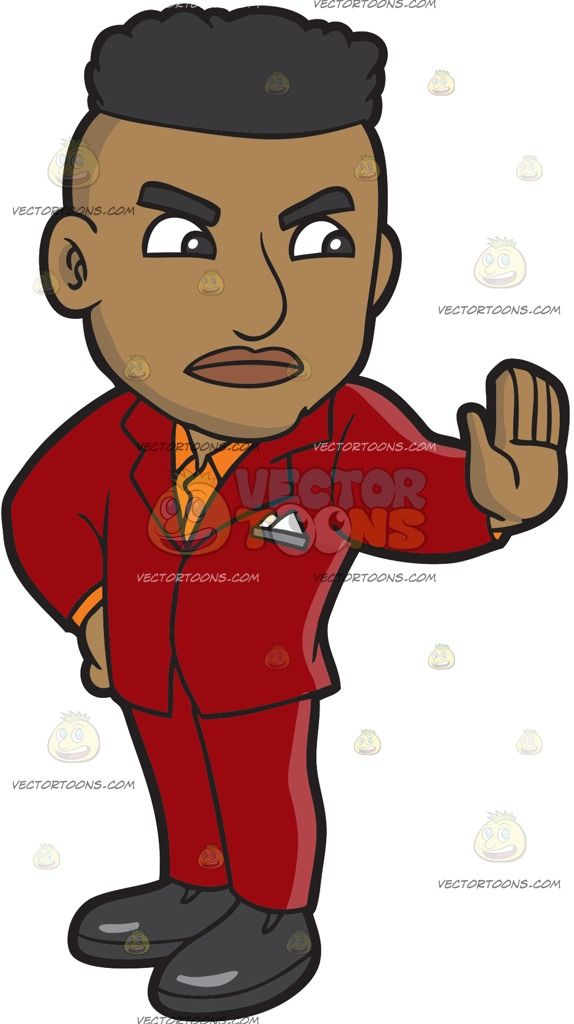 A Black Bouncer Stopping An Entry :  A black guy with brown black hair wearing a red suit orange collared shirt and dark gray shoes frowns while raising his left palm to halt someone  The post A Black Bouncer Stopping An Entry appeared first on VectorToons.com.