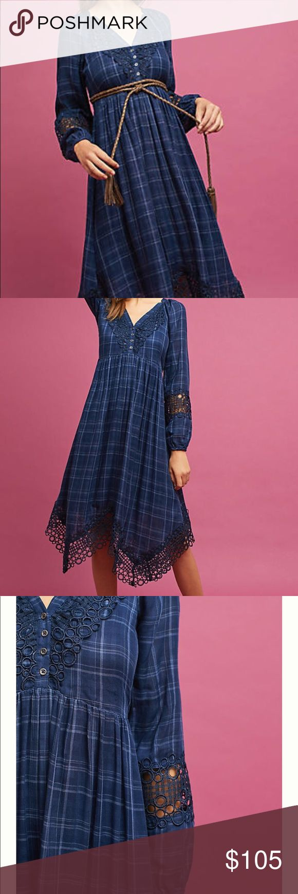 NWT anthropologie akemi kin dress Codie Plaid Handkerchief Dress Style No. 4130265415626 ; Color Code: 040  Akemi + Kin's Codie dress might arrive in a timeless plaid, but its cut truly departs from tradition. Anchor the flowing handkerchief hem with chunky leather ankle boots.  By Akemi + Kin Cotton V-neck Long sleeves Pullover styling Plaid print Handkerchief hem Lace trim Hand wash Belt not included Please note this style runs large - we suggest sizing down Imported Anthropologie Dresses