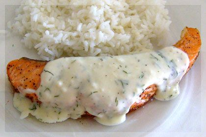 A simple, tasty and healthy baked salmon recipe with creamy sauce. Tastes great when served over rice.