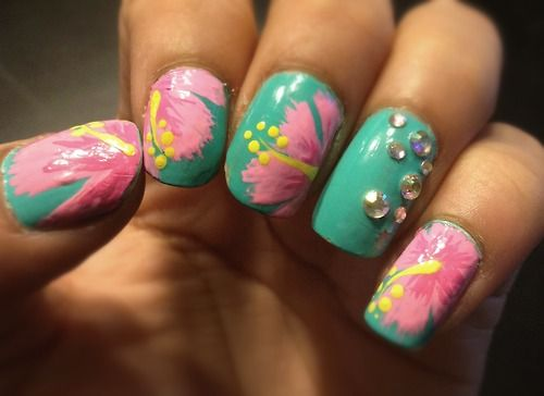 Tropical Nail Designs Nails Hibiscus Spring Manicure Texture Pinterest Makeup And Flower