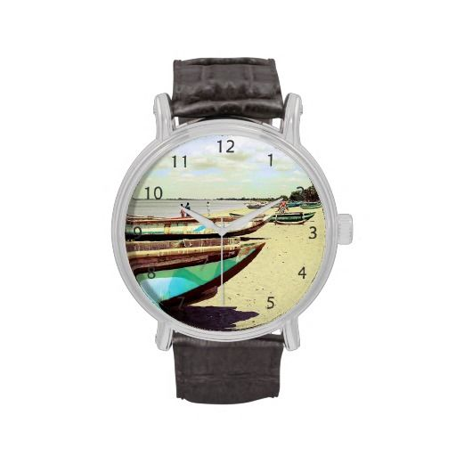 Colorful wooden boats on a beautiful sand beach, somewhere in the tropics / Vintage Leather Strap Wrist Watch #fomadesign