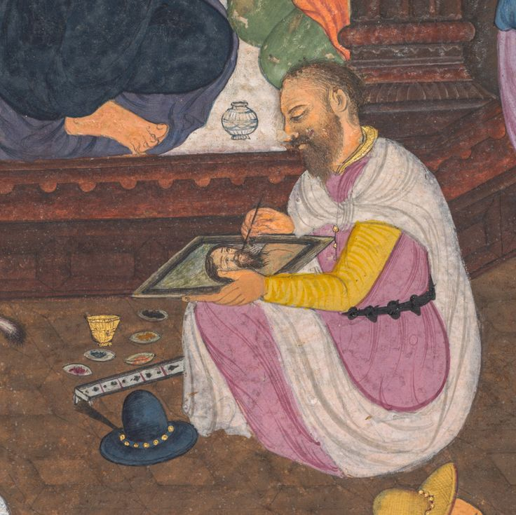 Jesus being portrayed by King Abgar's painter, from a Mir'at al-quds of Father Jerome Xavier (Spanish, 1549–1617), 1602-1604 Northern India, Uttar Pradesh, Allahabad, Mughal period
