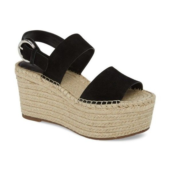 Women's Marc Fisher Ltd Renni Espadrille Platform Wedge Sandal (3.115 ARS) ❤ liked on Polyvore featuring shoes, sandals, black suede, suede espadrilles, black platform wedge shoes, braided sandals, black shoes and woven sandals