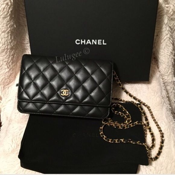 ❤️Just Sharing only NFS Chanel WOC wallet on chain Sharing only. not for sale. Chanel Classic WOC black lambskin with gold chain. CHANEL Bags