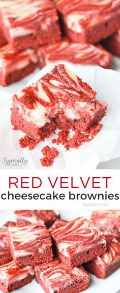 Red velvet brownies topped with a cheesecake swirl, this decadent treat is perfect to serve as a yummy Christmas or Valentine's Day dessert!
