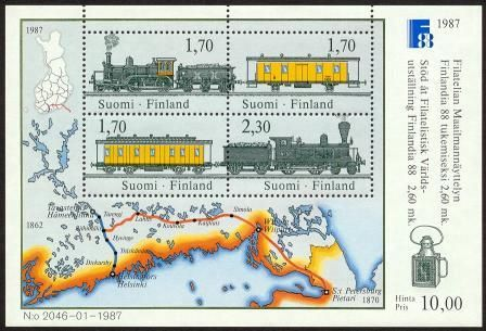 FINLANDIA '88, Mail transport by train, Miniature Sheet III First day cancell. - Click Image to Close
