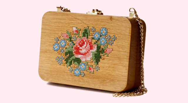 cross stitch on wooden bag