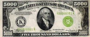 Five Thousand Dollar Bill USA — 5000 Dollar Bill USA