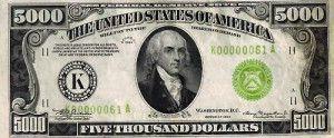 Five Thousand Dollar Bill USA — 5000 Dollar Bill USA