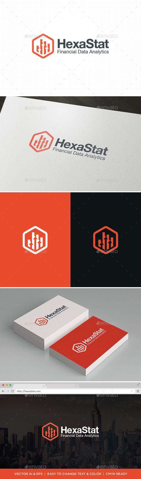 HexaStat - Logo Design Template Vector #logotype Download it here: http://graphicriver.net/item/hexastat-logo/11422471?s_rank=285?ref=nexion