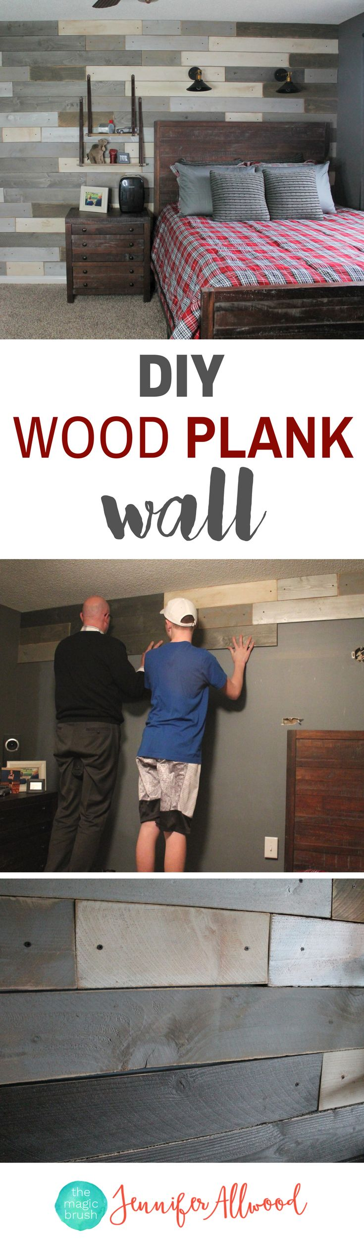 Painted Cedar Wood Plank Wall | Boys Room Decorating Ideas | DIY Accent Walls & Focal Wall | Magic Brush