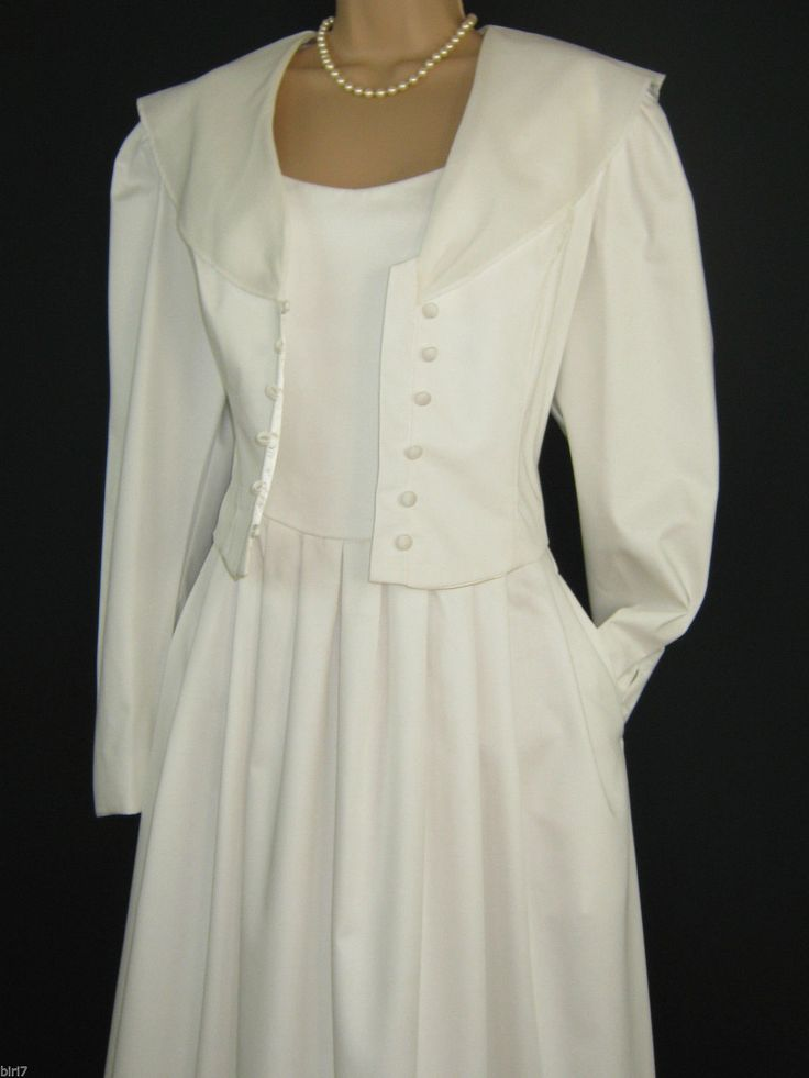 Laura ashley vintage summer white wedding occasion dress for Jacket dress for wedding