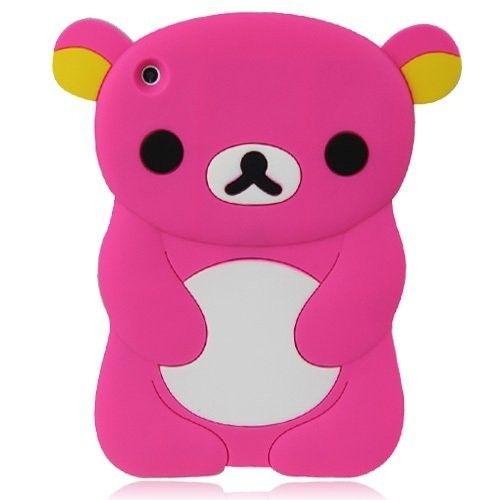 Cute 3D Cartoon Hot Pink Teddy Bear Design Silicone Case Cover Skin for iPad Mini