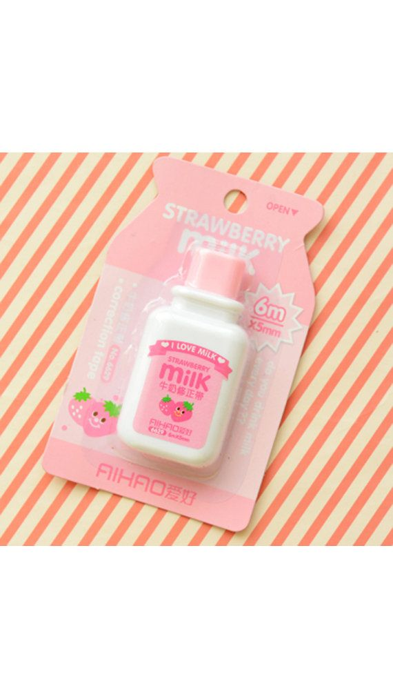 Correction tape in lovely strawberry milk shape. This correction tape will be great for decorative use and craft projects. A must have for Scrapbooking,