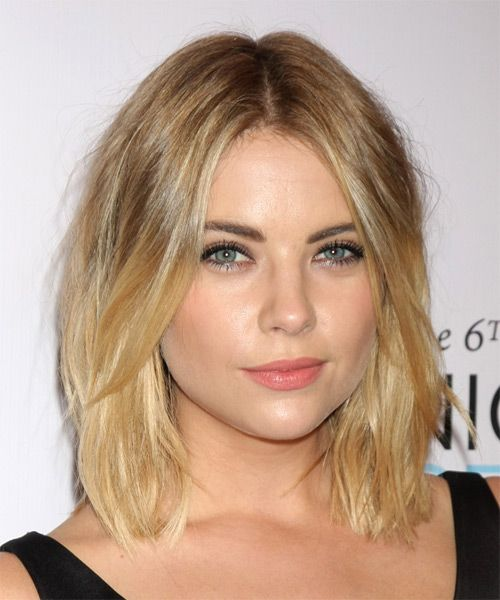 Ashley Benson Medium Straight Hairstyle - Dark Blonde - side view 1. I like the longer bangs, maybe a bit too short though