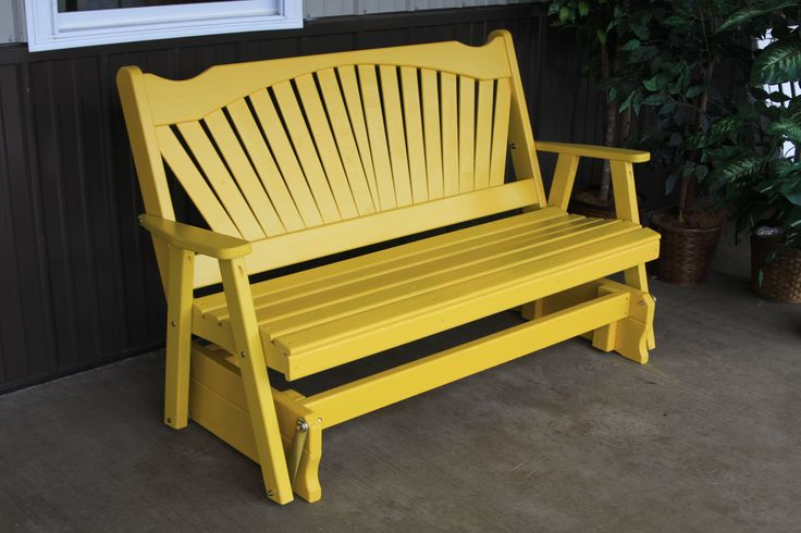 5' Canary Yellow fan back style painted pine porch glider.  Great outdoor furniture piece for the garden, back yard, patio, or deck.  Amish made in the USA.