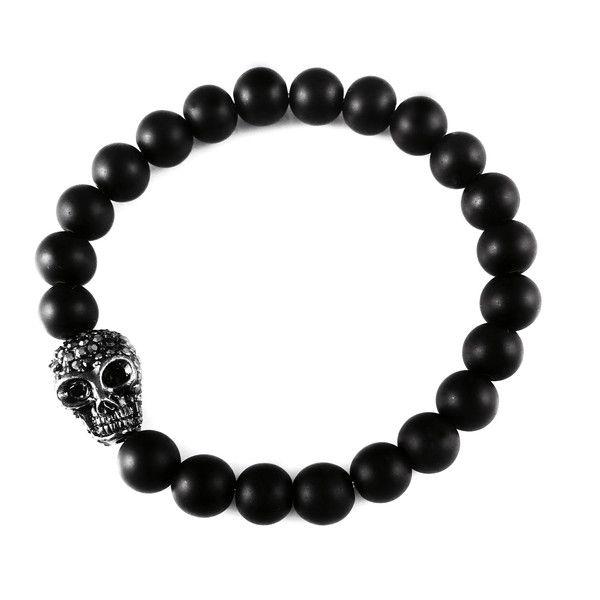 Męska bransoletka Dizarro kryształowa czaszka w Dizarro na DaWanda.com