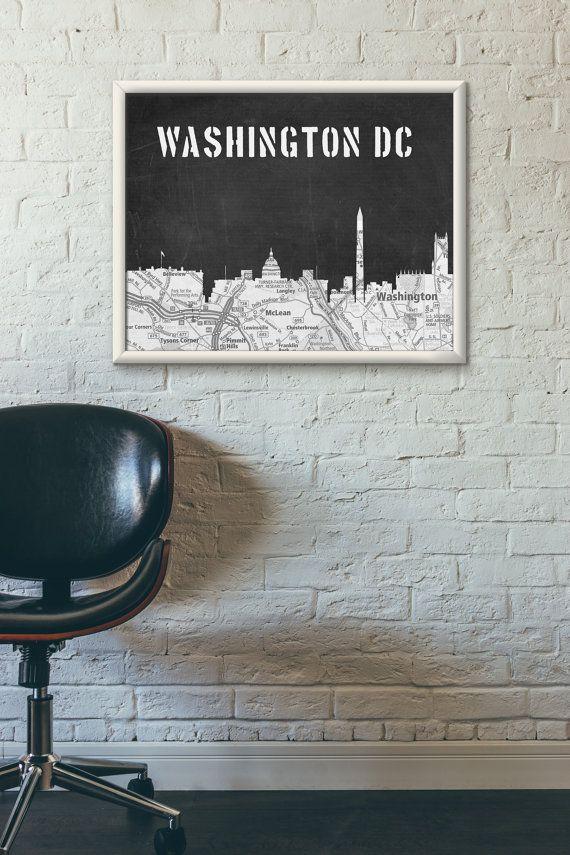 Washington DC Skyline, Black and White skyline,Washington DC map,Chalkboard art,Modern Home Decor,No594