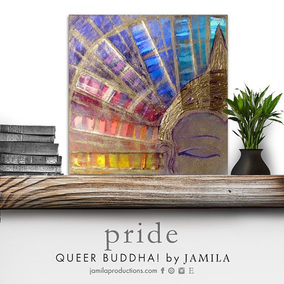 This Buddha is just glowing with a vibrant paint swatch aura that channels queer and colorful {PRIDE}. Made with ♡ LOVE ♡ and ✩ LIGHT ✩ Original mixed media painting Stretched canvas ~ 16x16in