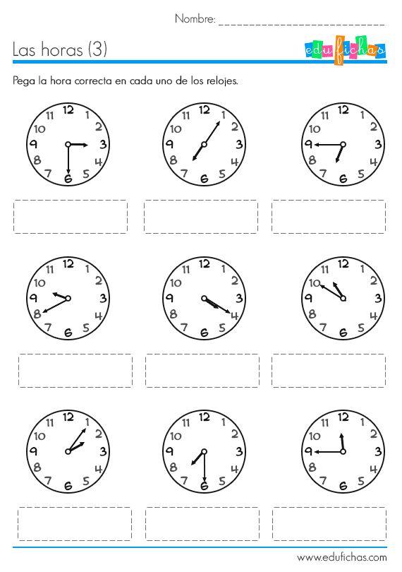 Fichas educativas para aprender las horas. Descarga tres fichas con ejercicios sobre las horas del reloj. Imprime la hoja adjunta para recortar y pegar.