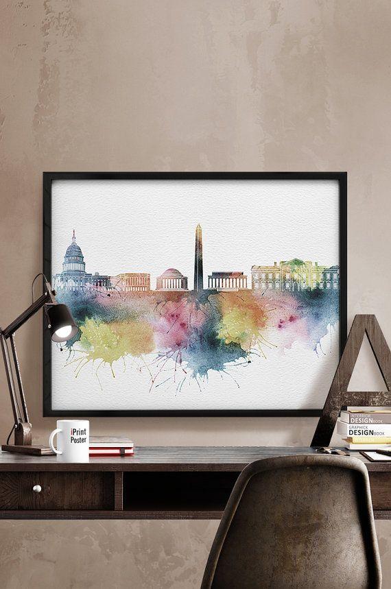 Washington DC Washington DC print watercolor por iPrintPoster