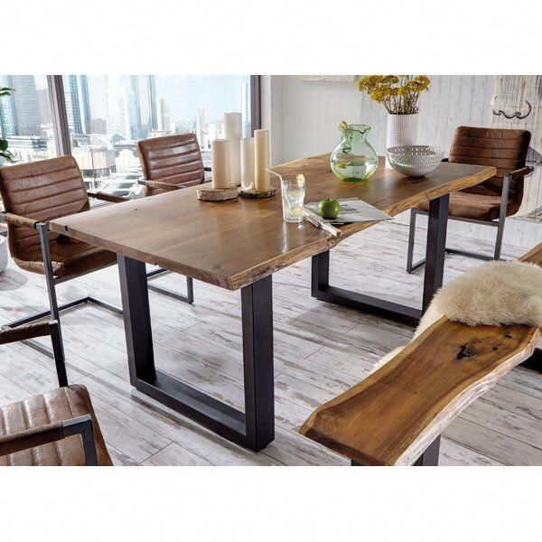 Natural Wood Mixed With Metal Can Spice Up Any Room This Solid Acacia Wood Table Top Has Li Wood Dining Room Table Dining Table With Bench Dining Table Rustic