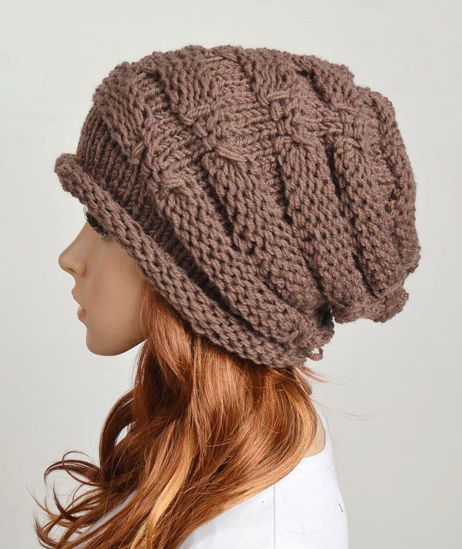Slouchy woman handmade knitted hat cap in Purple