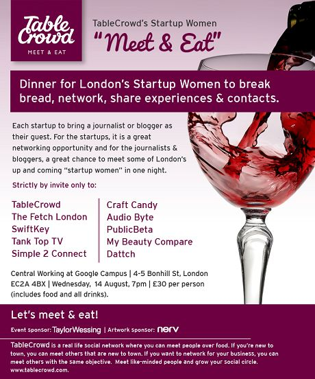 Startup Women 'Meet and Eat' Line Up.