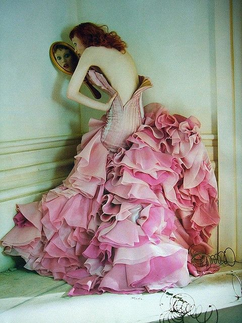 oh tim walker...: Mirror, Kare Nelson, Karen O'Neil, Pink Ruffles, Gowns, Dresses, Karen Elson, Tim Walker, Fashion Photography