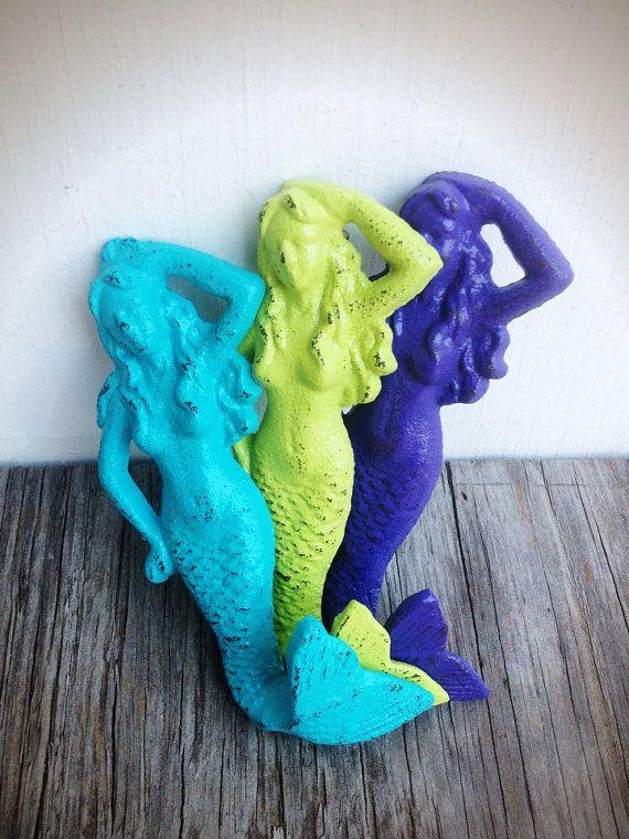BOLD trio MERMAID towel hooks //seaside aqua lime by BOLDHOUSE, $36.00