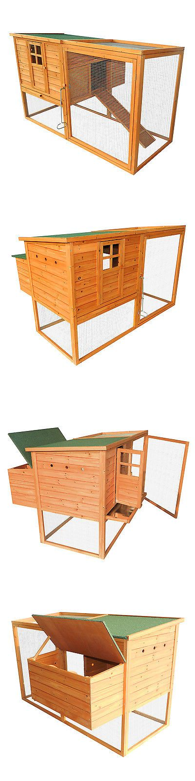 Backyard Poultry Supplies 177801: Pawhut Chicken Coop Wood Poultry Deluxe Nesting Box Hen House Hutch Run Backyard BUY IT NOW ONLY: $199.99