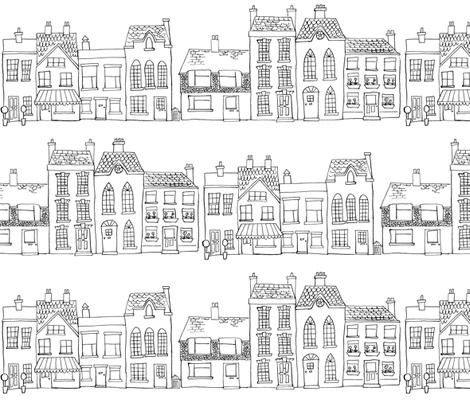 Down Our Street - Drawing fabric by woodle_doo on Spoonflower - custom fabric $18 yd